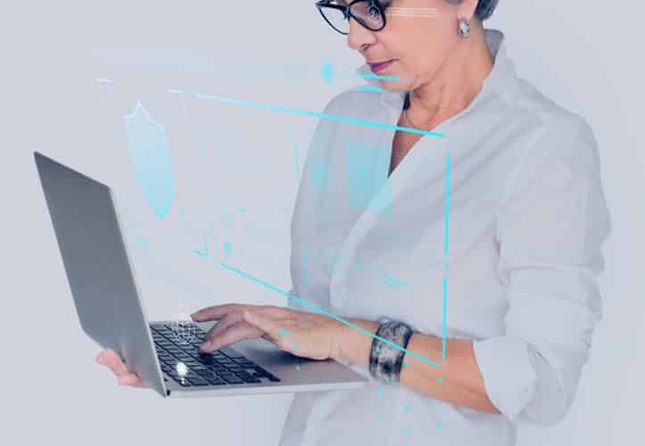 Professional woman protecting her cyber security with strong passwords